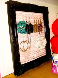 Frame a piece of lace for an instant earring holder