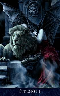Strength, from the Bohemian Gothic Tarot Deck ( Major arcana) Dark Fantasy, Fantasy Art, Strength Tarot, Inner Strength, Tarot Astrology, Ange Demon, Tarot Major Arcana, Tarot Readers, Tarot Decks