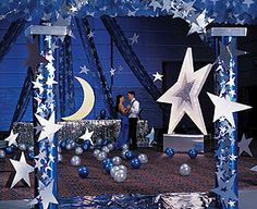 balloons on the floor is so easy and adds more color - Star Decorations Starry Night Prom, Prom Night, Starry Nights, Prom Themes, Dance Themes, Prom Backdrops, Night To Shine, Starry Night Wedding, Graduation Theme