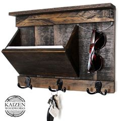 Rustic Entryway Organizer Mail / Key / by KaizenWoodworks on Etsy