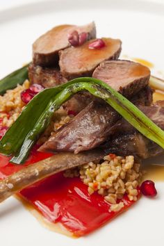 This beautiful sous vide goat recipe by Kevin Mangeolles incorporates several different cuts, showcasing the meat's rich flavour to perfection. Goat meat is commonly used around the world and is increasingly available in butchers across the UK – don't forget to ask for trimmings to make the heady goat sauce.