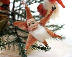 Vintage Chenille Pipe Cleaner Santa Star with Clay Face c1940