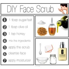 """DIY Face Scrub 1.0"" Both sugar and salt act as a natural exfoliant that helps remove dead skin cells while also rejuvenating skin.  Sugar is most commonly used by people with sensitive skin for its gentle qualities. Salt, on the other hand, is suited for people with  acne. Olive oil can be used as a moisturizer for extremely dry or irritated skin. Honey penetrates the skin, unclogging pores, while killing bacteria and retaining water in the skin."