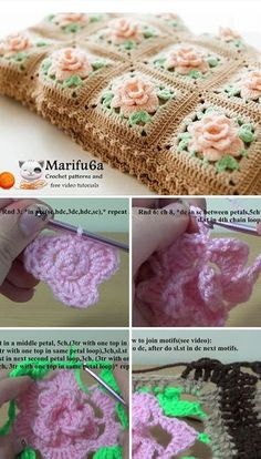 Crochet Granny Square Blankets Rose Granny Blanket Crochet Pattern Tutorial - There is no such thing as having too many crochet blankets. I want to share a lovely crochet blanket, so you can start making a new crochet blanket right away. Granny Square Pattern Free, Crochet Blocks, Granny Square Crochet Pattern, Crochet Flower Patterns, Afghan Crochet Patterns, Crochet Squares, Crochet Motif, Crochet Yarn, Blanket Crochet