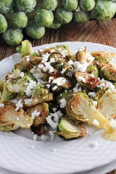 Bites of Bri   Crispy Brussels Sprouts with Goat Cheese and Honey   http://bitesofbri.com