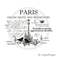 Paris French Hotel Ad. Chandelier Birds. Image No.123, Digital Download Iron-On Transfer to Fabric (burlap, linen) Paper Prints (cards, tags