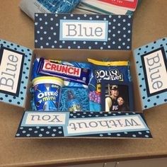 """""""Blue blue blue without you"""" blue themed care package sent to boyfriend"""
