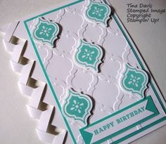 I made this braided card and used the Stampin' Up! Mosiac Madness stamp set and embossing folder.