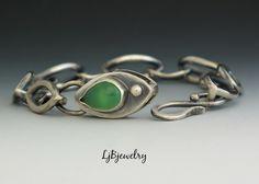 Silver Link Bracelet, Australian Chrysoprase, Sterling Silver Bracelet by LjBjewelry Jewelry Clasps, Metal Jewelry, Jewelry Art, Sterling Silver Jewelry, Jewelery, Jewelry Bracelets, Silver Bracelets, Link Bracelets, Bangles