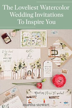 Discover more of our favorite watercolor wedding invitation suites, created for the most special of days—they just might inspire your own beautiful wedding invitations. #weddingideas #wedding #marthstewartwedding #weddingplanning #weddingchecklist Green Wedding Invitations, Beautiful Wedding Invitations, Wedding Invitation Suite, Wedding Stationery, Invites, Ceremony Programs, Watercolor Wedding Invitations, Casual Wedding, Stationery Design