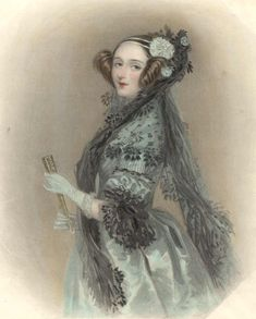 Ada Lovelace, shown here, was the only legitimate child of the poet Lord Byron who died when she was nine. Her mother raised her and encouraged her scientific interests.  1838 Ada Lovelace, enlarged (Science Museum, London:Science and Society Picture Library)    Keywords:  1838, Ada Lovelace, Countess, British, straight coiffure, floral headdress, elbow length puffed sleeves, engageantes, lace, full skirt, wrap, gloves, fan
