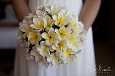frangipani wedding bouquet