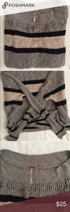 Free People Striped Sweater FP striped sweater. Grey & black. Size XS. Hardly worn, in grey condition. Lightweight. Free People Sweaters