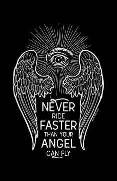 """Never ride faster than your angel can fly. """"Guardian Angel"""" is available for pre-order on the website. Currently sold in unisex tees, women's v-neck, and as an 11x17 screen printed piece of wall art. Orders will ship by the end of November."""