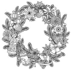 Beautiful Christmas wreath with decorative items with angel, stars, socks and…