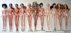 various body types Mattel has used over the years.
