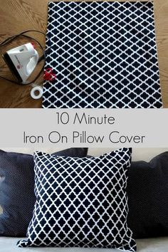10 Minute, No Sew Iron On Pillow Cover