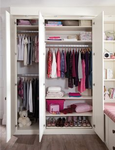 Side wardrobes change from triple hanging to double hanging for growing girls - bedroom furniture ideas for children's rooms Wardrobe Storage, Built In Wardrobe, Bedroom Storage, Bedroom Organization, Organization Ideas, Wardrobe Drawers, Wardrobe Organisation, Storage Ideas, Pax Wardrobe