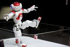 """""""Nao"""" humanoid robot, that offers basic service information, moves at MUFG branch in Tokyo"""