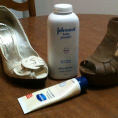 No more blisters! Put vaseline anywhere your shoes rub your feet wrong & you'll never have another blister. Put baby powder on the bottom of your feet to keep sweaty feet from slipping & sliding. I do this every single day & it's a MIRACLE!!