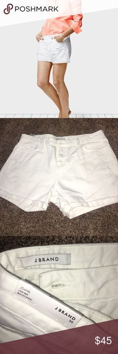 J Brand White Joanie Shorts🌈🦋🏝❤️ NWT J Brand white shorts.  They have never been worn. I bought them on Poshmark and unfortunately they just don't fit me right.  Slight destress intentional and they run a little big.  Super cute and comfortable shorts that are the perfect length for all your summer tops! J Brand Shorts Jean Shorts