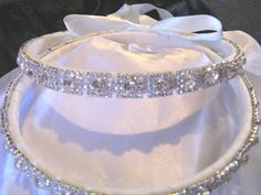Elegant STEFANA Greek Orthodox Wedding Crowns Custom Made Sterling Silver Plated with Swarovksi Crystals  Choice of Ribbons. $145.99, via Etsy.