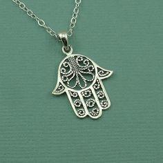 Hamsa Necklace  sterling silver hamsa hand pendant by TheZenMuse, $36.00