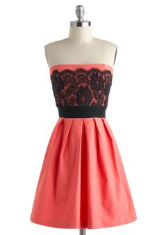 Black lace over coral.  Obviously Adorable Dress, #ModCloth