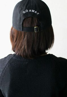 60d0140c5c4 Description Details  Black six panel baseball cap with  Go Away  embroidery  on the back   adjustable back with tri-glide buckle.All accessories are  final ...