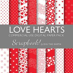 Instant Download Love Hearts Wallpaper by digtheearthscrapbook