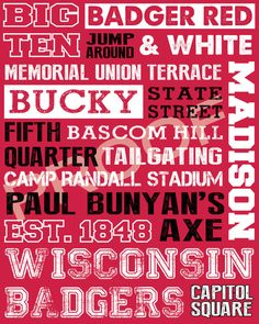 Wisconsin Badgers Subway Art