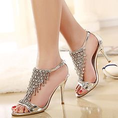 Women's Shoes Stiletto Heel Slingback Sandals Dress Silver – CAD $ 48.64
