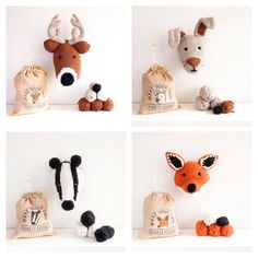 PDF Pattern - Forest Friends Collection - Fox, Deer, Hare and Badger Trophy Heads Pdf Patterns, Knitting Patterns Free, Badger Images, Super Chunky Yarn, Animal Cupcakes, Woodland Critters, Diy Couture, Knitted Animals, Forest Friends