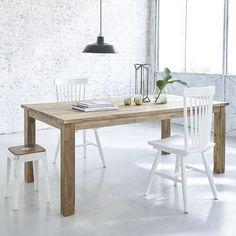 Table rectangulaire en bois de TECK RECYCLE 200cm Table Teck, Paris Apartments, Office Desk, Dining Table, Furniture, Authentique, Style Brut, Home Decor, Tables