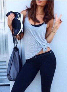 #summer #fashion / monochrome workout outfit