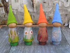 Seasonal Gnomes Set set of four painted wooden peg dolls handmade wood toy wool felt waldorf nature table
