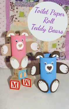 Toilet Paper Roll Teddy Bears Paper Towel Crafts, Paper Towel Tubes, Toilet Paper Roll Crafts, Vbs Crafts, Crafts To Make, Crafts For Kids, Felting Tutorials, Craft Tutorials, Projects For Kids