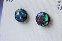 Black and mica stud earrings mica shimmer studs  от JewelryBest
