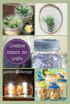A bunch of creative mason jar craft ideas and projects! These would be fun to make or great as gifts