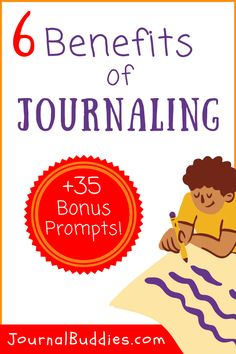 With a little encouragement and a focus on fun, you can help your child enjoy the many benefits of journaling! Check out these 35 fresh new journal prompts for your child's journal. #BenefitsOfJournaling #JournalBenefits #JournalBuddies