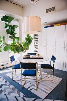 navy velvet + brass chairs