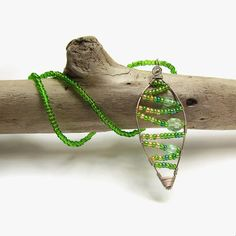 Fairy leaf necklace, Green beaded pendant, Wire wrapped jewelry, Green and silver abstract leaf pendant, Nature inspired fantasy jewellery by JantraK