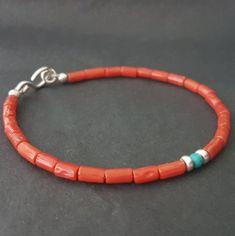 Red Sardinian Coral Beaded Bracelet, Valentine Day Red Coral Bracelet, Stacking Bracelet, Coral Jewelry, Handmade Bracelets