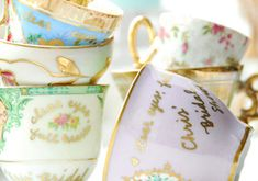 Tea Party Favor...personalize with gold ink on older tea cups