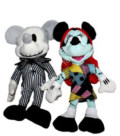 Plush Mickey Jack Skellington & Minnie Sally Nightmare Before Christmas NWT Mickey Mouse Toys, Minnie Mouse, Nightmare Before Christmas Toys, Disney Halloween, Jack Skellington, Monster High, Pixie, Disney Characters, Fictional Characters