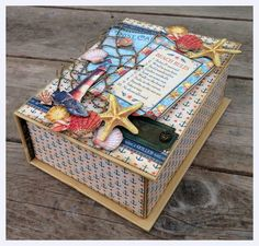Welcome to my Graphic 45 Design Team 2014 Audition. Cigar Box Art, Cigar Box Crafts, Graphic 45, Mini Scrapbook Albums, Mini Albums, Altered Cigar Boxes, Ocean Themes, Scrapbooking, Crafty Projects