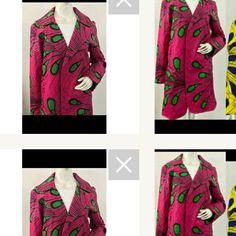 Pink and green lightly lined Coat...Blazer... Jacket ..Very fashionable can be worn w/ tights jeans dressed up or down Color is very vibrant colors limited edition in the shop - 1 of a kind fashion found here#multicolored #Africanprint #Blazer #pinkngreen