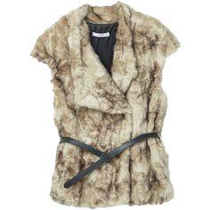 MANGO Belt Faux Fur Gilet (160 CAD) ❤ liked on Polyvore featuring outerwear, vests, faux fur waistcoat, brown faux fur vests, lapel vest, gilet vest and brown waistcoat