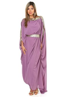 Lavender caftan with silver accents