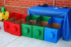 DIY engines ready to be decorated for a Thomas and Friends birthday party. What a cute idea!